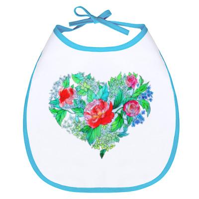 Слюнявчик Весна в сердце