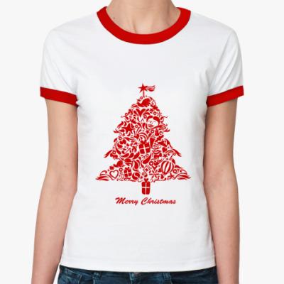 Женская футболка Ringer-T   Елка