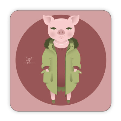 Костер (подставка под кружку) Animal Fashion | P is for Pig in Parka with Pearls
