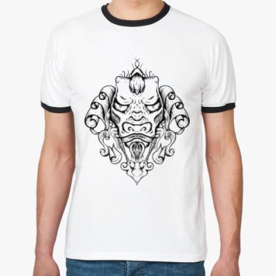 Футболка Ringer-T Восточный тату дракон