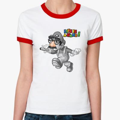 Женская футболка Ringer-T Марио - жизнь игра