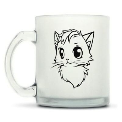 Кружка матовая Белый и Черный кот new