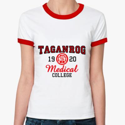 Женская футболка Ringer-T Таганрогский МедКолледж