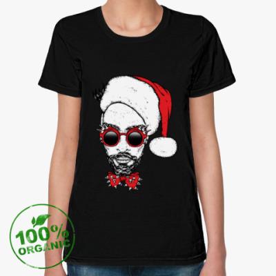 Женская футболка из органик-хлопка Хипстер Санта