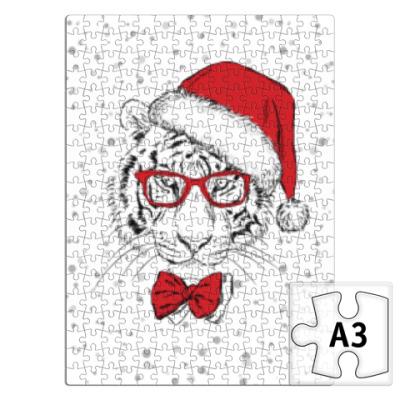 Пазл Тигр Санта Клаус