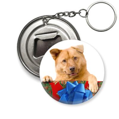 Брелок-открывашка Собака с подарком