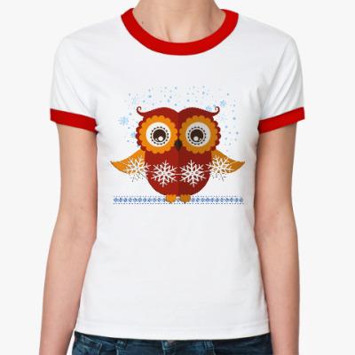 Женская футболка Ringer-T Сова со снежинками