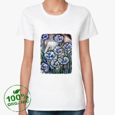 Женская футболка из органик-хлопка Тюльпаны Серебро