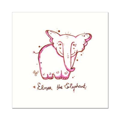 Наклейка (стикер) Розовый слон