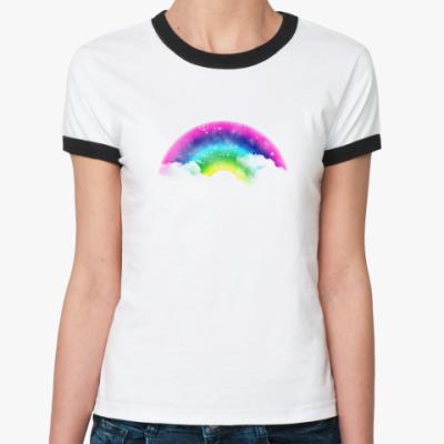 Женская футболка Ringer-T Радужное счастье!