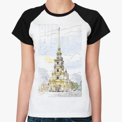 Женская футболка реглан Петропавловская крепость