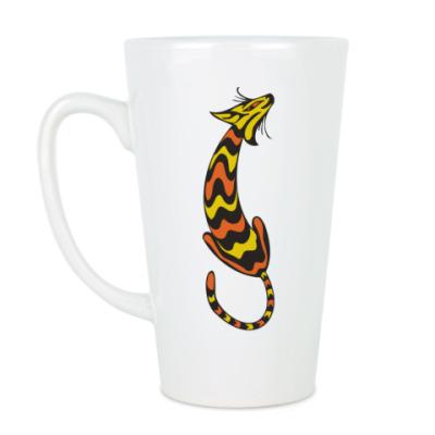 Чашка Латте Полосатая Кошка