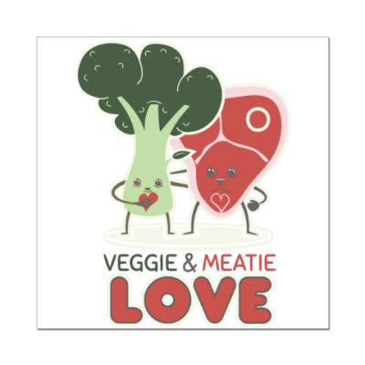 Наклейка (стикер) Овощно-мясная любовь