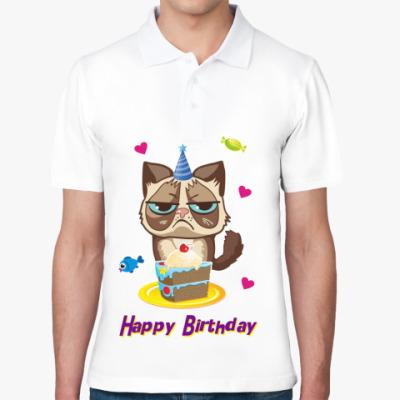 Рубашка поло Угрюмый кот Тард - Grumpy Cat