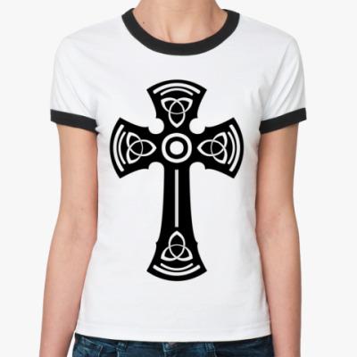 Женская футболка Ringer-T Тамплиерский крест с девизом