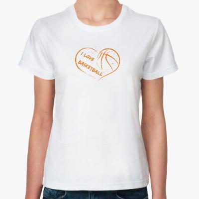 Классическая футболка Я люблю баскетбол