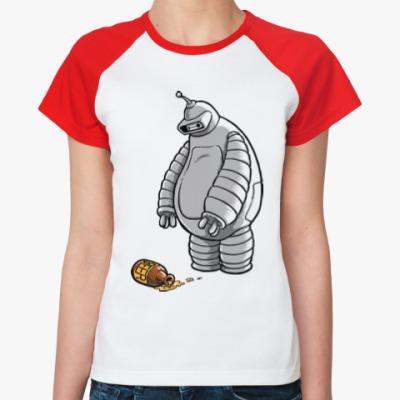 Женская футболка реглан Робот и пиво