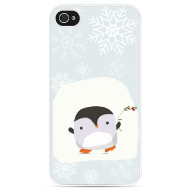 Чехол для iPhone Пингвин с веточкой