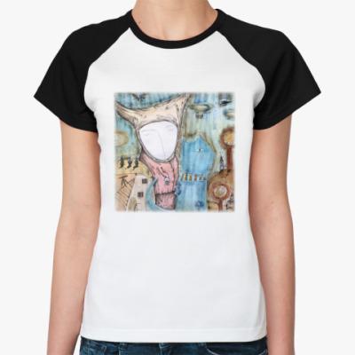 Женская футболка реглан Синий кот