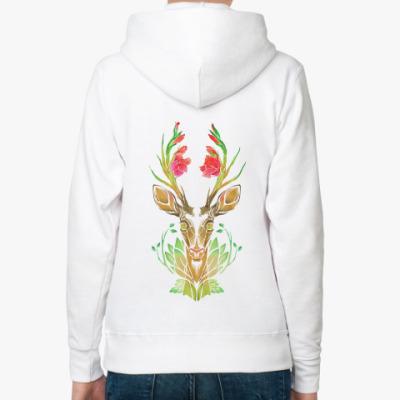 Женская толстовка худи Spring Gladiolus Deer/ Цветочный