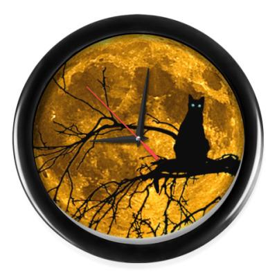 Настенные часы Луна и кошка
