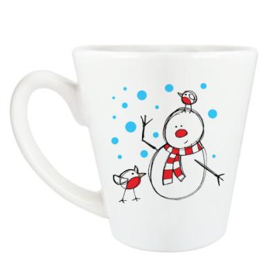 Чашка Латте Снеговик и снегири в Новый год