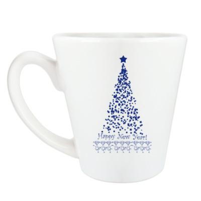 Чашка Латте Новогодняя Елка