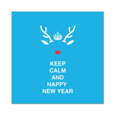 Наклейка (стикер) Keep calm and happy new year