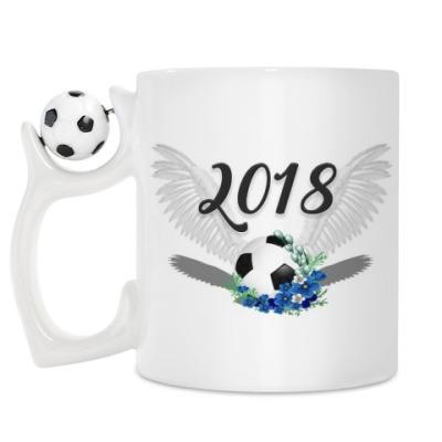 Кружка Футбольный мяч с цветами 2018