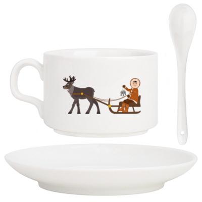 Кофейный набор Мальчик эскимос и северный олень