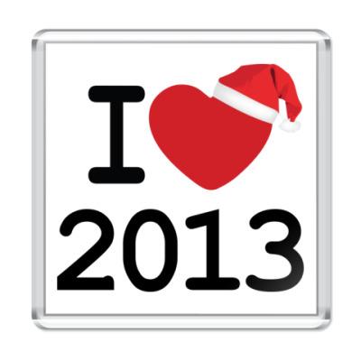 Магнит Новогодний принт I Love 2013