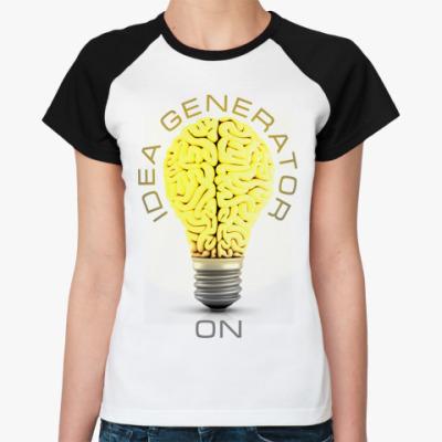 Женская футболка реглан Idea generator (on)