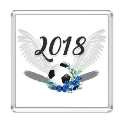 Магнит Футбольный мяч с цветами 2018