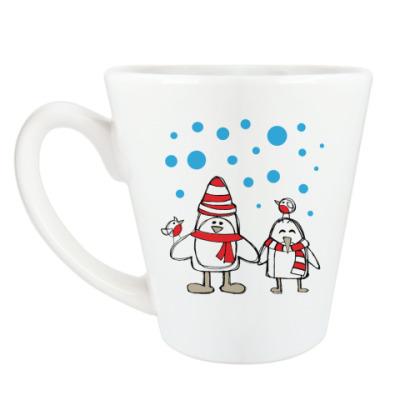 Чашка Латте Пингвины и снегири в Новый год