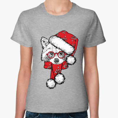 Женская футболка Енот Санта