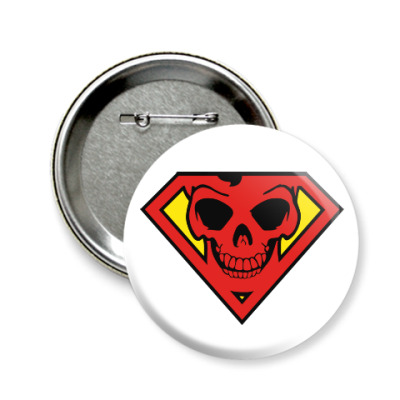 Значок 58мм Skull Superman