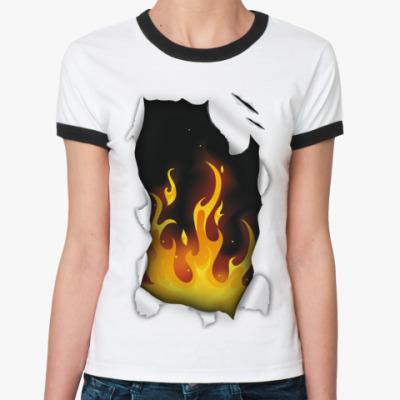 Женская футболка Ringer-T Огонь
