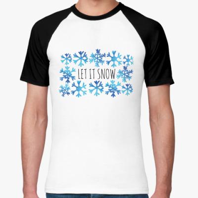 Футболка реглан Let it snow/ снежинки