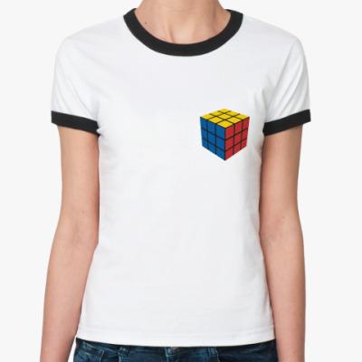 Женская футболка Ringer-T Кубик Рубика