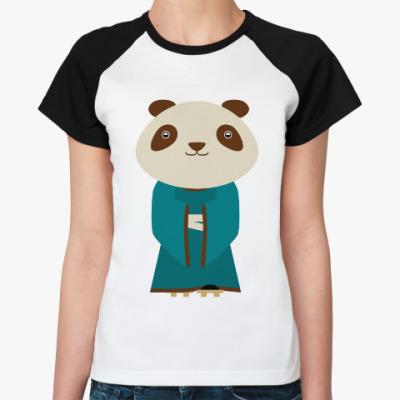 Женская футболка реглан Панда в кимоно