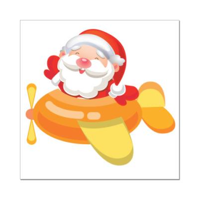 Наклейка (стикер) Дед Мороз к нам мчится