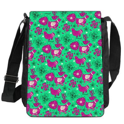 Сумка-планшет Птицы, цветы и чай
