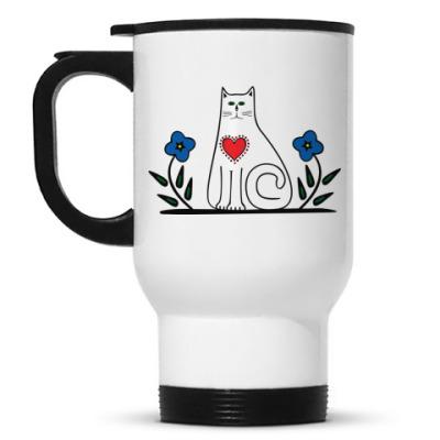 Кружка-термос Кот и сердце