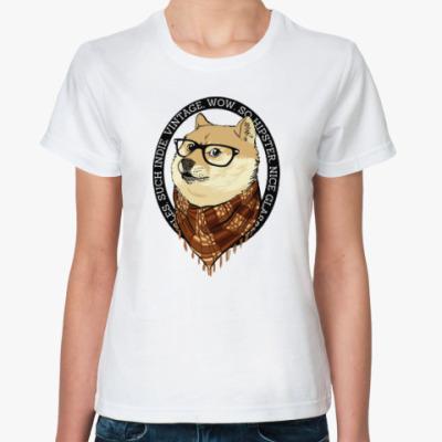 Классическая футболка Doge the Hipster