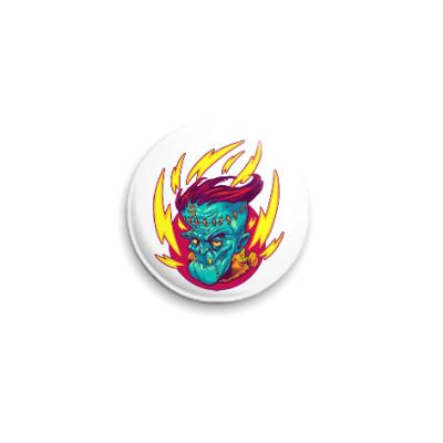Значок 25мм Франкенштейн в огне