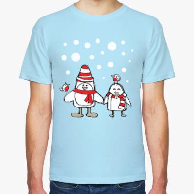 Футболка Пингвины и снегири в Новый год
