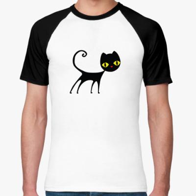 Футболка реглан Черный кот