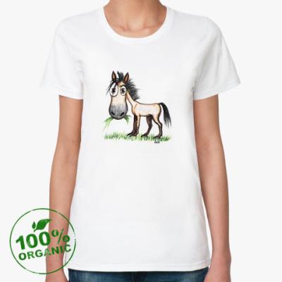 Женская футболка из органик-хлопка  Коняка-подозревака
