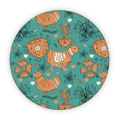 Костер (подставка под кружку) Птицы, цветы и чай