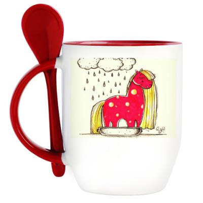 Кружка с ложкой Купание красной коняшки